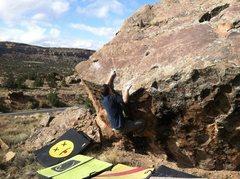 Rock Climbing Photo: Arien at the crux.