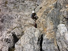 Rock Climbing Photo: Brandon follows the slippery crux.   Jugs all arou...