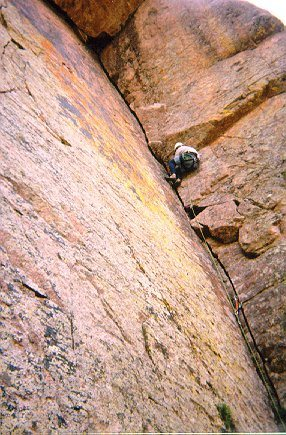 Rock Climbing Photo: Dan B. on the classic first pitch.