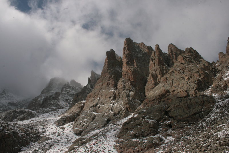Rock Climbing Photo: Cathedral Spires from Sky Pond.