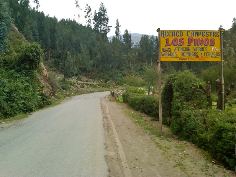 Los Pinos. The climbing is just across the road from this sign.