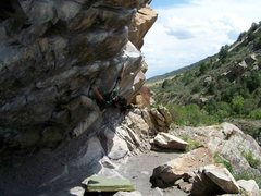 Rock Climbing Photo: After the crux, the problem finishes out on good j...