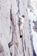 Rock Climbing Photo: K. Leaman on Gilpin Wall (Amphitheater) FA, ca 197...