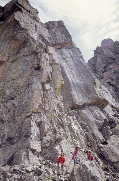 Perry Mansfield climbers under what we called PM Buttress, ca 1973. The 5.7 route went directly above the group.