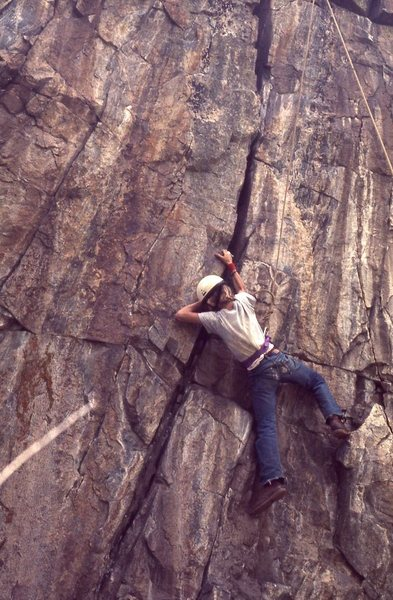 Perry Mansfield student on the 5.8 crack ca 1969-our traditional training area in preparation for climbing excursions to Zirkel, Agnes, 11777 etc....