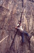 Rock Climbing Photo: Perry Mansfield student on the 5.8 crack ca 1969-o...