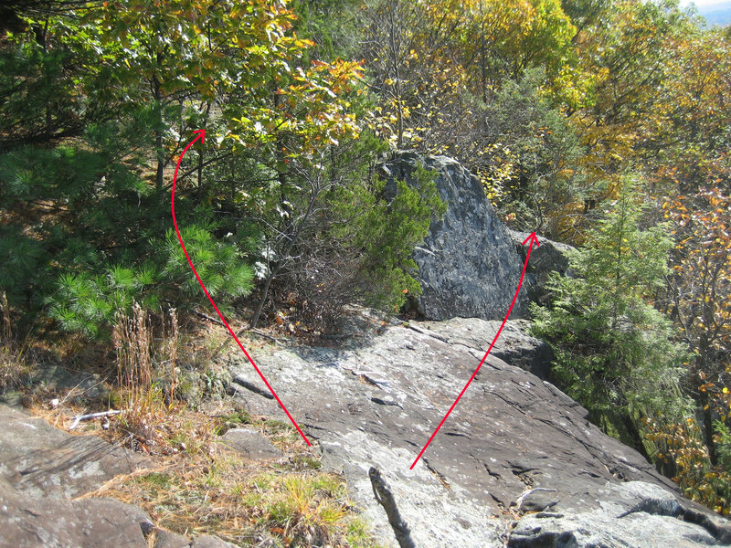 Rock Climbing Photo: To downclimb to bottom (class 4), bushwhack a bit ...