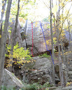 Rock Climbing Photo: Red is Superslab. Blue is Supermantel.