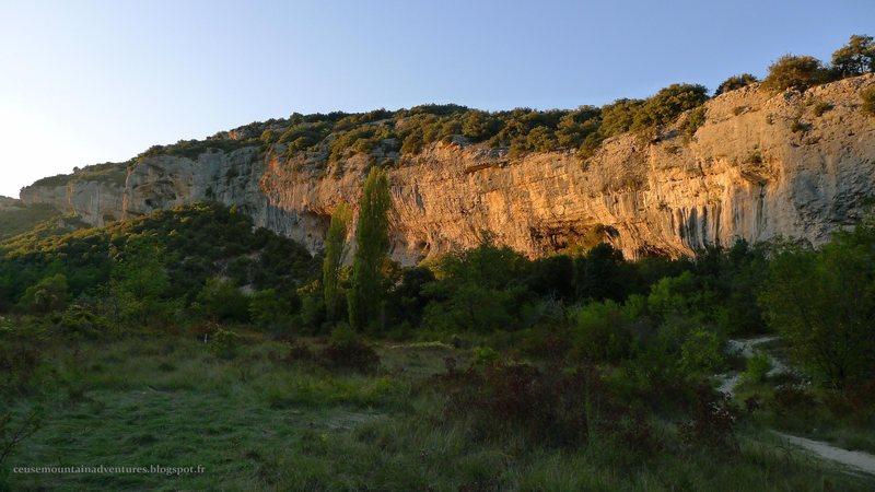 The mile long cliffline of the South Face of St. Léger du Ventoux. 100% climbing...
