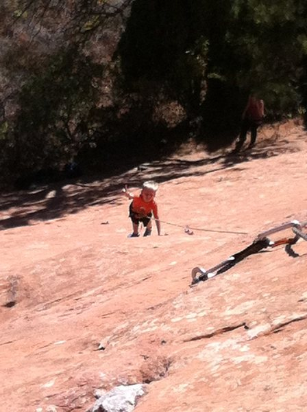 Rock Climbing Photo: Peyton (8) enjoys a nice smear.