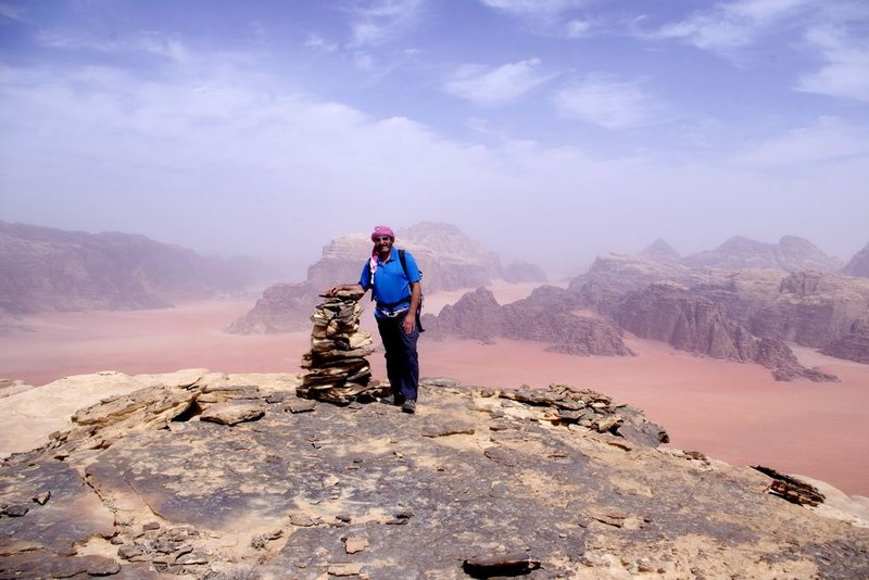 Summit of Jebel Khazali after climbing Sabbah's Route (III, 5.6), Wadi Rum, Jordan, March 2012