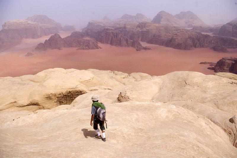Descending off the summit of Jebel Khazali after climbing Sabbah's Route (III, 5.6), Wadi Rum, Jordan, March 2012