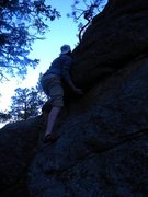 Rock Climbing Photo: Moving up from the undercling to the slab on &quot...