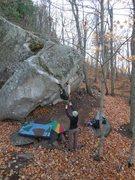 Rock Climbing Photo: The cross-over move. photo: B. Fellenz