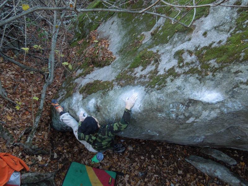Rock Climbing Photo: The crux sloper. photo: B. Fellenz