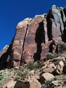 Rock Climbing Photo: the route follows the shade line in the middle of ...
