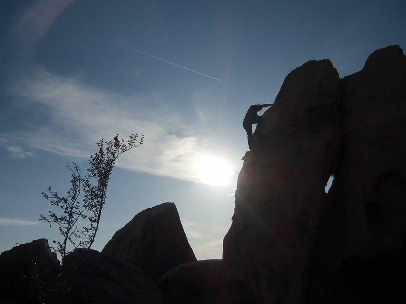 Rock Climbing Photo: Nearing the sloper top moves
