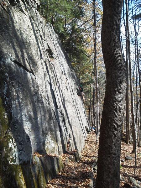 Rock Climbing Photo: Davis seconding the FA of Minor Travers