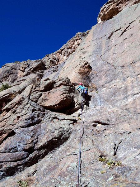 Rock Climbing Photo: Deb on P1.