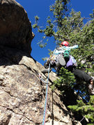 Rock Climbing Photo: Deb T1s it.  That's a #0.1 Camalot.  A sling on a ...
