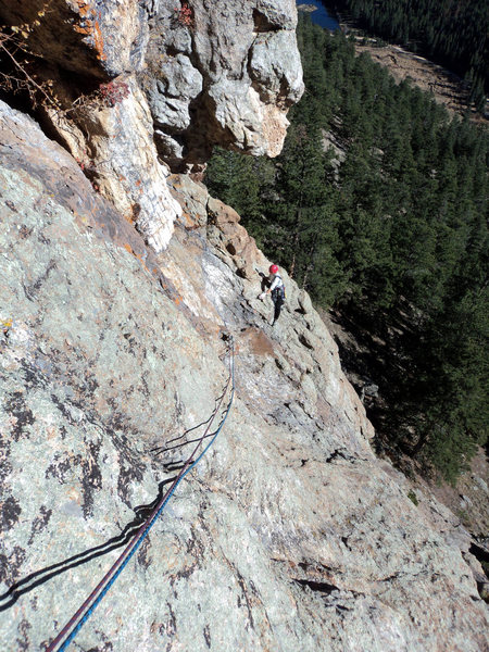 Deb comes up to the higher belay.