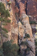 Rock Climbing Photo: Chris following Pitch 1.
