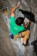 Rock Climbing Photo: Pulling through the second roof on Caliman.  Photo...