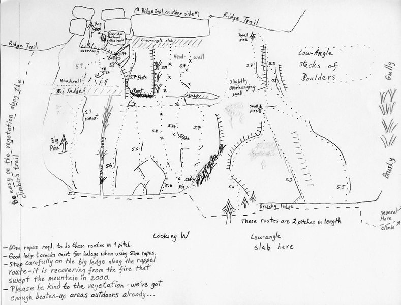 Topo of the Southern end of Lower Ridge Trail Slabs. From the Old Rag section of rockclimbing.com, drawn up by Michael Doyle.