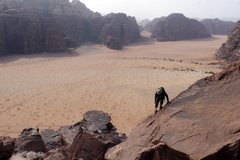 Rock Climbing Photo: Scrambling on the lower section of Sabbah's Route ...