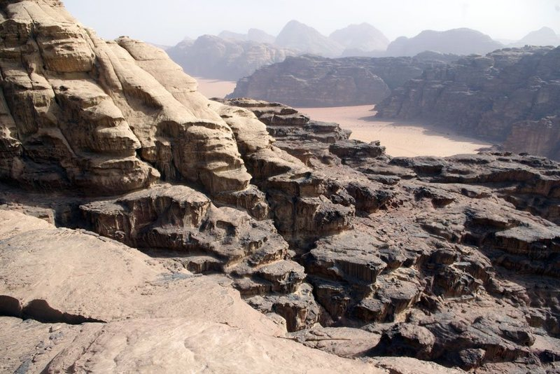 Typical terrain on the lower part of Sabbah's Route (III, 5.6), showing the transition between the lower Um Sahn sandstone and the upper Rum sandstone, Wadi Rum, Jordan, March 2012