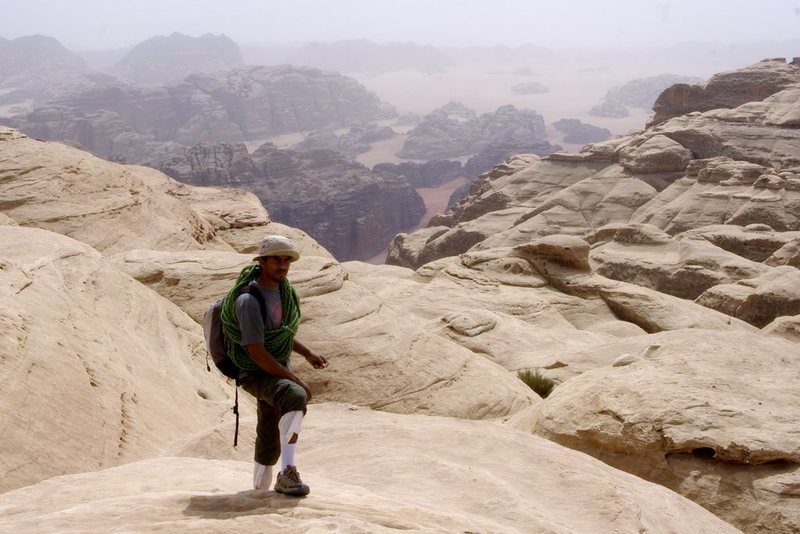 Rock Climbing Photo: Sabbah high on the summit domes of Jebel Khazali d...