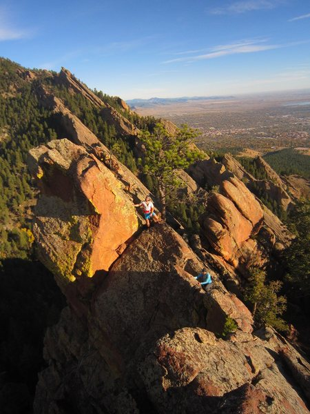 Rock Climbing Photo: Linz and Jason approach the summit of the lonely S...