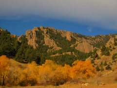 Rock Climbing Photo: An October view of Dinosaur Mountain Crags from th...