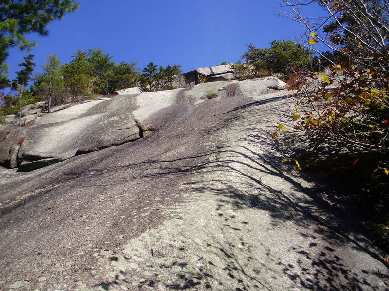Rock Climbing Photo: Looking up at the slab start of Wandering I