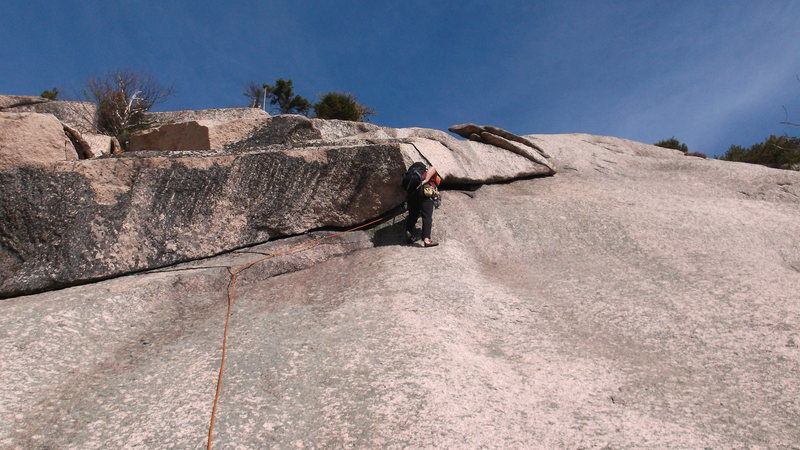 About to start the layback at the wide section.
