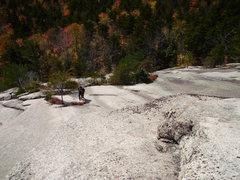 Rock Climbing Photo: Looking down P2. Matt Peer at the first belay tree...