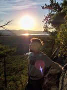 Rock Climbing Photo: Lincoln Tetherly enjoying the sunset during an aft...