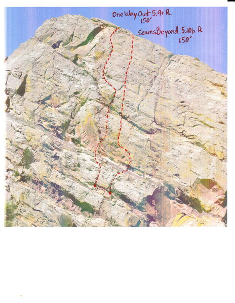 """One Way Out"" starts off the diagonal ramp after pitch 5 (pin traverse) of T2."