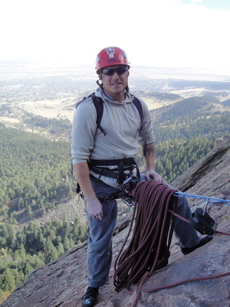 At the fourth belay on the standard route.