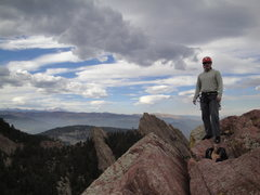 Rock Climbing Photo: On the summit with the front range in the backgrou...