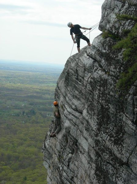 Two of our instructors climbing High Exposure (5.6) in The Trapps.