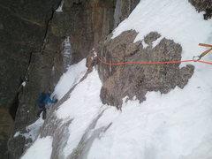 Rock Climbing Photo: Noah McKelvin following the second pitch traverse ...