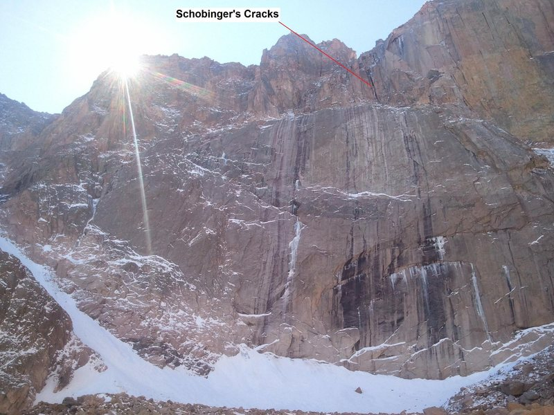 East Face of Long's showing Schobinger's Cracks on 10/7/12.
