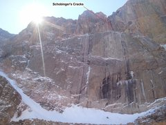 Rock Climbing Photo: East Face of Long's showing Schobinger's Cracks on...