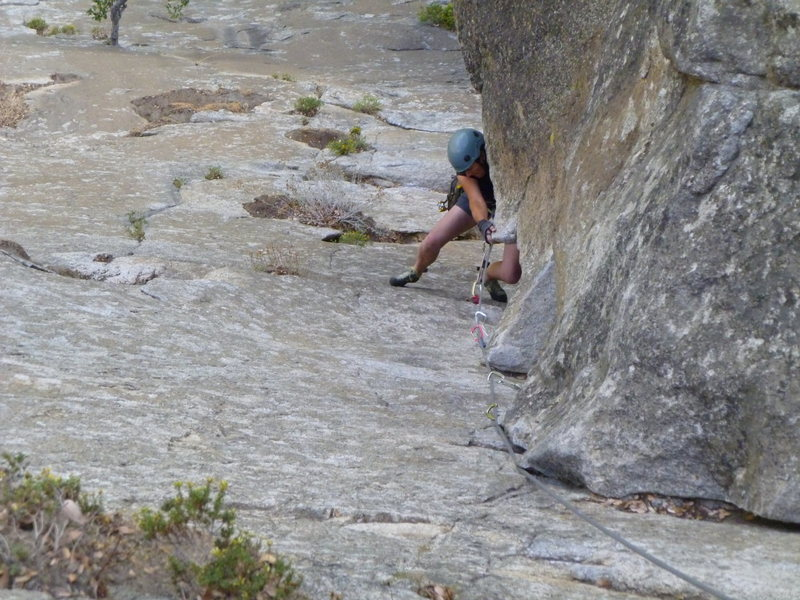 Trish pulling the crux. She always makes everything look easy! <br> <br> October 2011