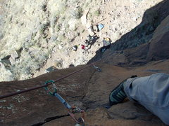 "Rock Climbing Photo: Looking down ""Sunset Arete"" from just be..."