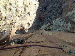 """Rock Climbing Photo: Looking down """"Rebel Yell"""" from just belo..."""