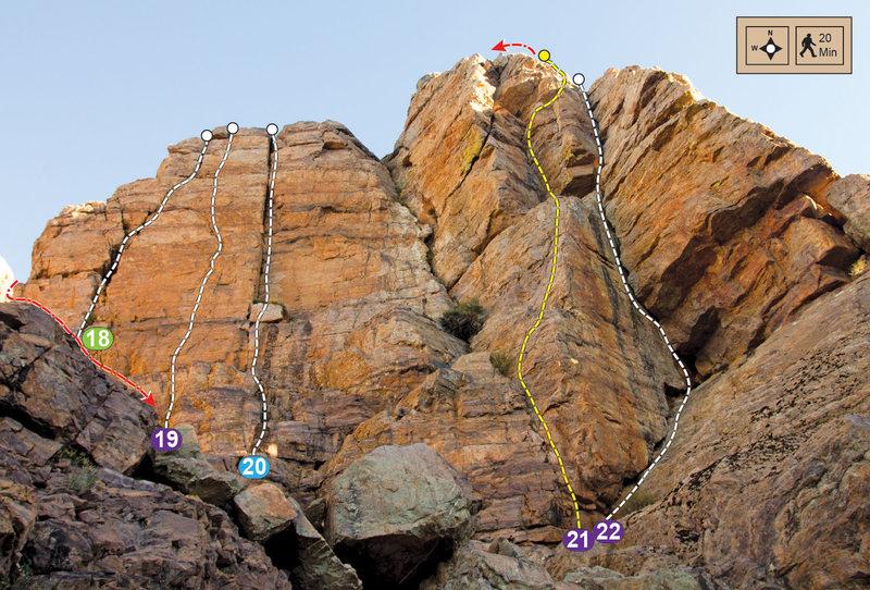 Topo for Upper West Walls, Tifghelt Col on the Tizi Escarpment