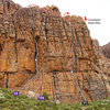 Topo for Titan's Wall on the Tizi Escarpment