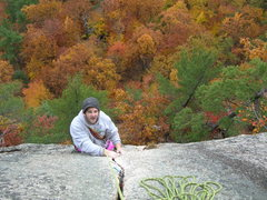 Rock Climbing Photo: Joshua nearing the tree belay ledge atop Inferno's...